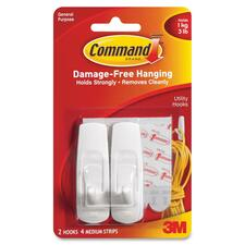 3M Reusable Command Adhesive Strip Hook - 2 Medium Hook - 1.36 kg Capacity - for Multipurpose - 1 Pack