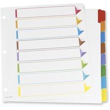 "Oxford Color Coded Index Divider - 8 Tab(s)/Set - 8.50"" Divider Width x 11"" Divider Length - Letter - 3 Hole Punched - White Divider - Assorted Tab(s) - 8 / Set"