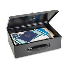 "MMF Fire-Retardant Security Box - Key Lock - Fire Resistant - Overall Size 4"" x 12.8"" x 8.3"" - Black - Steel"