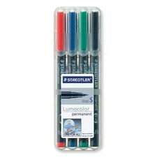 Lumocolor Permanent Pen 313 - Extra Fine Marker Point - 0.4 mm Marker Point Size - Refillable - Red, Blue, Green, Black - Black Polypropylene Barrel - 4 / Set