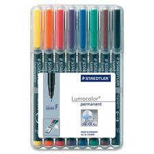 Lumocolor Permanent Pen 318 - Fine Marker Point - 0.6 mm Marker Point Size - Refillable - Assorted - Black Polypropylene Barrel - 8 / Set