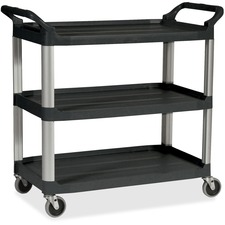 "Rubbermaid Commercial Economy Cart - 3 Shelf - 90.72 kg Capacity - 4 Casters - 4"" (101.60 mm) Caster Size - Plastic - 33.6"" Width x 18.6"" Depth x 37.8"" Height - Black"