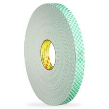 "3M Scotch Double-Coated Foam Tape - 0.47"" (12 mm) Width x 36.1 yd (33 m) Length - 3"" Core - Foam - Double-sided, Temperature Resistant - 1 Each"