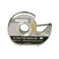 "3M Highland Crystal Clear Transparent Tape - 36 yd (32.9 m) Length x 0.75"" (19 mm) Width - 1"" Core - 1 Each - Clear"