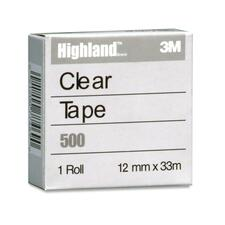 "3M Highland Transparent Tape - 36.1 yd (33 m) Length x 0.47"" (12 mm) Width - 1"" Core - Polypropylene Film, Acrylic - 1 Each - Clear"