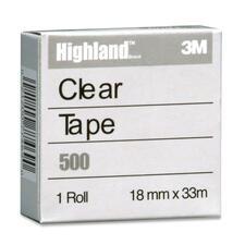 "3M Highland Transparent Tape - 36.1 yd (33 m) Length x 0.71"" (18 mm) Width - 1"" Core - Polypropylene Film, Acrylic - 1 Each - Clear"