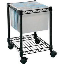 "Safco Compact Mobile File Cart - 1 Shelf - 4 Casters - Steel - x 15.5"" Width x 14"" Depth x 19.5"" Height - Black - 1 Each"