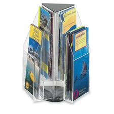 "Safco Reveal 4"" Pamphlet Tabletop Display - 6 Compartment(s) - Compartment Size 7.25"" (184.15 mm) x 4.25"" (107.95 mm) x 1"" (25.40 mm) - 12.5"" Height x 9.5"" Width x 9.5"" Depth - Desktop - Clear - Acrylic - 1 Each"
