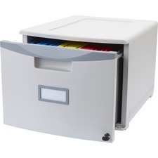 "Storex Storage File Drawer - External Dimensions: 12.8"" Width x 18.3"" Depth x 14.8""Height - Media Size Supported: Letter, Legal - Stackable - Platinum, Gray - For File - Recycled - 1 Each"