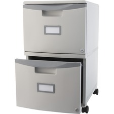 "Storex Mobile File Drawer - 14.8"" x 18.3"" x 26"" - 2 x Drawer(s) - Letter, Legal - Scratch Resistant, Dent Proof, Security Lock, Washable, Stackable - Gray - Recycled"