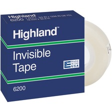 "3M Highland Permanent Invisible Transparent Tape - 36 yd (32.9 m) Length x 0.50"" (12.7 mm) Width - 1"" Core - 1 Each - Clear"