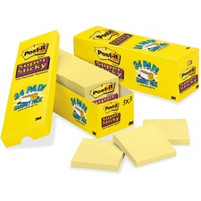 """Post-it® Cabinet Pack Super Sticky Notes - 3"""" x 3"""" - Square - Canary Yellow - Self-adhesive - 24 / Pack"""
