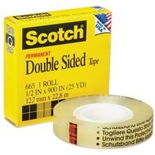 "3M Scotch Double-Coated Tape - 0.50"" (12.7 mm) Width x 25 yd (22.9 m) Length - 3"" Core - Non-yellowing, Photo-safe - 1 Each - Clear"