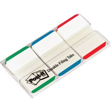 Post-it® Durable Repostionable File Tab - Blue, Green, Red Tab(s) - 1 / Pack