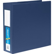 """Avery® Heavy-Duty EZD Reference Binder - 3"""" Binder Capacity - Letter - 8 1/2"""" x 11"""" Sheet Size - D-Ring Fastener(s) - 4 Pocket(s) - Plastic - Navy - Lay Flat, Rivet, One Touch Ring, Locking Mechanism, Stacked Pocket, Gap-free Ring - 1 Each"""
