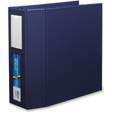 "Avery® EZD Ring Binder - 4"" Binder Capacity - 8 1/2"" x 11"" Sheet Size - D-Ring Fastener(s) - Poly - Navy - 1 Each"