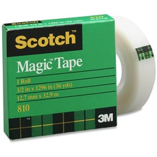 "3M Scotch Magic Transparent Tape - 0.50"" (12.7 mm) Width x 36 yd (32.9 m) Length - 1"" Core - Non-yellowing, Split Resistant, Tear Resistant, Repositionable, Writable Surface, Photo-safe - 1 Each"