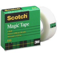 "3M Scotch Magic Transparent Tape - 0.75"" (19 mm) Width x 36 yd (32.9 m) Length - 1"" Core - Non-yellowing, Tear Resistant, Split Resistant, Photo-safe, Repositionable - 1 Each"