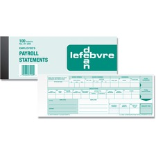"Dean & Fils Employees Payroll Record Form - 100 Sheet(s) - 8"" x 3"" Sheet Size - Recycled - 1 Each"