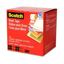 "3M Scotch Book Transparent Tape - 3"" (76.2 mm) Width x 15 yd (13.7 m) Length - 3"" Core - Writable Surface - 1 Each"