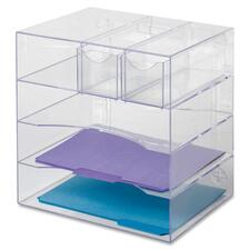 """Rubbermaid Optimizer 4-Way Organizer with Drawers - 5 Compartment(s) - 10"""" Height x 13.3"""" Width x 13.3"""" Depth - Desktop - Clear - Plastic - 1 Each"""