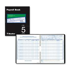 "Blueline Five Employees Payroll Book - Twin Wirebound - 10"" x 12 1/4"" Sheet Size - White Sheet(s) - Black Cover - Recycled - 1 Each"