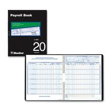 "Blueline Twenty Employees Payroll Book - Twin Wirebound - 10"" x 12 1/4"" Sheet Size - White Sheet(s) - Blue, Brown Print Color - Black Cover - Recycled - 1 Each"