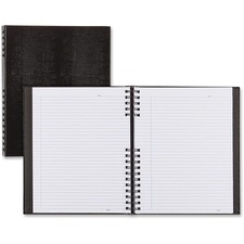 "Blueline NotePro Twin-wire Composition Notebook - 300 Sheets - Twin Wirebound - 11"" x 8 1/2"" - Black Cover - Hard Cover, Micro Perforated, Index Sheet, Self-adhesive, Pocket - Recycled - 1Each"