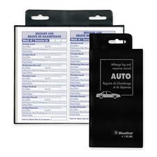 "Blueline Bilingual Auto Record Book - 104 Sheet(s) - 3 1/2"" x 6 3/8"" Sheet Size - Black Cover - Recycled - 1 Each"