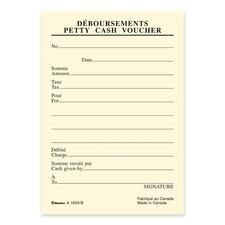 "Blueline Bilingual Petty Cash Vouchers Pad - 72 Sheet(s) - Gummed - 3 1/2"" x 5"" Sheet Size - Yellow Sheet(s) - Recycled - 10 / Pack"