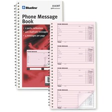 "Blueline Telephone Message Book - 100 Sheet(s) - Spiral Bound - 2 Part - Carbonless Copy - 5 3/4"" x 10 3/4"" Sheet Size - White Sheet(s) - 1 Each"