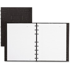 """Blueline Notepro Notebook - 150 Sheets - Wire Bound Blue Margin - 9 1/4"""" x 7 1/4"""" - Black Cover Textured - Hard Cover, Perforated, Self-adhesive, Index Sheet, Pocket - Recycled - 1Each"""