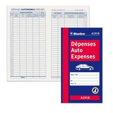 "Blueline Bilingual Auto Expense Log Book - 32 Sheet(s) - Thread Sewn - 3 1/2"" x 6 3/8"" Sheet Size - Blue Cover - Recycled - 1 Each"