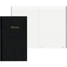 """Blueline Glue Binding Side Open Memo Book - 100 Sheets - Glue - 6 3/4"""" x 4"""" - Black Paper - Black Cover - Pocket, Flexible Cover - Recycled - 1Each"""