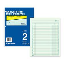 "Blueline Analysis Columnar Pad - 50 Sheet(s) - Gummed - 8 1/2"" x 10 7/8"" Sheet Size - 3 x Holes - 2 Columns per Sheet - Green Sheet(s) - Blue, White Cover - Recycled - 1 Each"