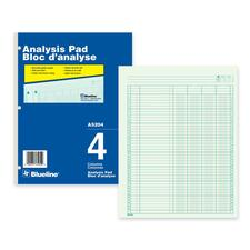 "Blueline Analysis Columnar Pad - 50 Sheet(s) - Gummed - 8 1/2"" x 10 7/8"" Sheet Size - 3 x Holes - Green Sheet(s) - Blue, White Cover - Recycled - 1 Each"