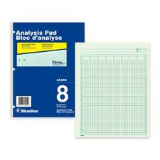 "Blueline Analysis Columnar Pad - 50 Sheet(s) - Gummed - 8 1/2"" x 10 7/8"" Sheet Size - 3 x Holes - 8 Columns per Sheet - Green Sheet(s) - Blue, White Cover - Recycled - 1 Each"