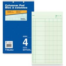 """Blueline Columnar Pad - 50 Sheet(s) - Gummed - 8 1/4"""" x 14"""" Sheet Size - 2 x Holes - 4 Columns per Sheet - Green Sheet(s) - Blue Cover - Recycled - 1 Each"""