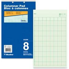 """Blueline Columnar Pad - 50 Sheet(s) - Gummed - 8 1/4"""" x 14"""" Sheet Size - 2 x Holes - 8 Columns per Sheet - Green Sheet(s) - Blue Cover - Recycled - 1 Each"""