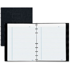 """Blueline Notepro Lizard-Look Hard Cover Composition Book - 150 Sheets - Twin Wirebound - Ruled - 9 1/4"""" x 7 1/4"""" - Black Cover - Hard Cover, Self-adhesive, Index Sheet, Micro Perforated, Pocket, Durable Cover - Recycled - 1Each"""