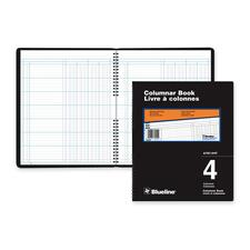 """Blueline 767 Series Double Format Columnar Book - 80 Sheet(s) - Spiral Bound - 10"""" x 12 1/4"""" Sheet Size - 4 Columns per Sheet - White Sheet(s) - Black Cover - Recycled - 1 Each"""