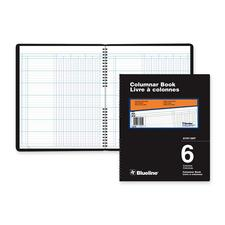 """Blueline 767 Series Double Format Columnar Book - 80 Sheet(s) - Spiral Bound - 10"""" x 12 1/4"""" Sheet Size - White Sheet(s) - Black Cover - Recycled - 1 Each"""