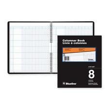 "Blueline 767 Series Single Format Columnar Book - 80 Sheet(s) - Spiral Bound - 10"" x 12 1/4"" Sheet Size - 8 Columns per Sheet - White Sheet(s) - Black Cover - Recycled - 1 Each"