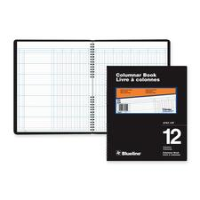 """Blueline 767 Series Double Format Columnar Book - 80 Sheet(s) - Spiral Bound - 10"""" x 12 1/4"""" Sheet Size - 12 Columns per Sheet - White Sheet(s) - Black Cover - Recycled - 1 Each"""