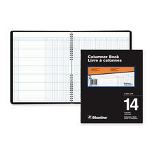 """Blueline 767 Series Double Format Columnar Book - 80 Sheet(s) - Spiral Bound - 10"""" x 12 1/4"""" Sheet Size - 14 Columns per Sheet - White Sheet(s) - Black Cover - Recycled - 1 Each"""
