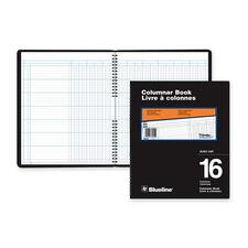 """Blueline 767 Series Double Format Columnar Book - 80 Sheet(s) - Spiral Bound - 10"""" x 12 1/4"""" Sheet Size - 16 Columns per Sheet - White Sheet(s) - Black Cover - Recycled - 1 Each"""