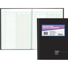 """Blueline 769 Series Accounting Book - 200 Sheet(s) - Perfect Bind - 7 11/16"""" x 10 1/4"""" Sheet Size - 3 Columns per Sheet - White Sheet(s) - Black Cover - Recycled - 1 Each"""