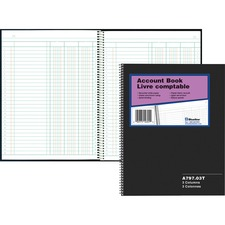 """Blueline 797 Series Accounting Book - 100 Sheet(s) - Spiral Bound - 8"""" x 10 1/4"""" Sheet Size - 3 Columns per Sheet - White Sheet(s) - Black Cover - Recycled - 1 Each"""