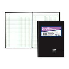 """Blueline 82 Series Accounting Book - 112 Sheet(s) - Perfect Bind - 7 11/16"""" x 10 1/4"""" Sheet Size - 3 Columns per Sheet - White Sheet(s) - Black Cover - Recycled - 1 Each"""