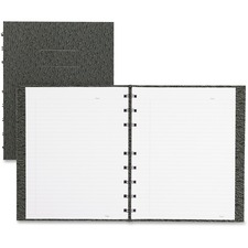 """Blueline NotePro Ostrich Twin-Wire Notebook - 192 Sheets - Perfect Bound Blue Margin - 9 1/4"""" x 7 1/4"""" - Black Cover Textured - Self-adhesive, Hard Cover, Index Sheet - Recycled - 1Each"""